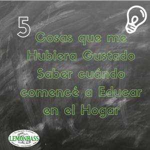 5 Cosas: Cuándo Comencé a Educar en el Hogar